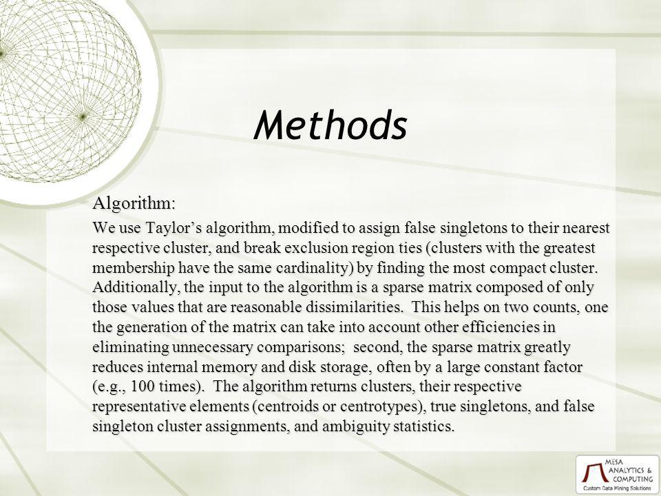Methods Algorithm: We use Taylors algorithm, modified to assign false singletons to their nearest respective cluster, and break exclusion region ties