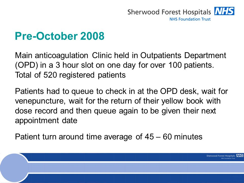 Pre-October 2008 Main anticoagulation Clinic held in Outpatients Department (OPD) in a 3 hour slot on one day for over 100 patients.