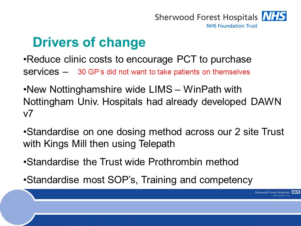 Drivers of change Reduce clinic costs to encourage PCT to purchase services – New Nottinghamshire wide LIMS – WinPath with Nottingham Univ.