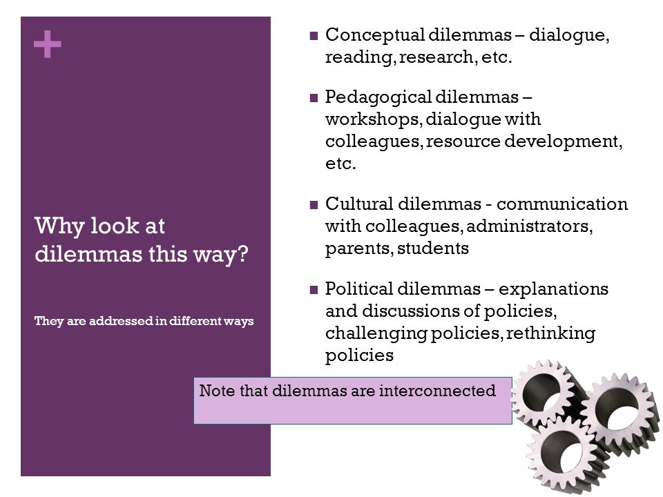 + Why look at dilemmas this way. Conceptual dilemmas – dialogue, reading, research, etc.