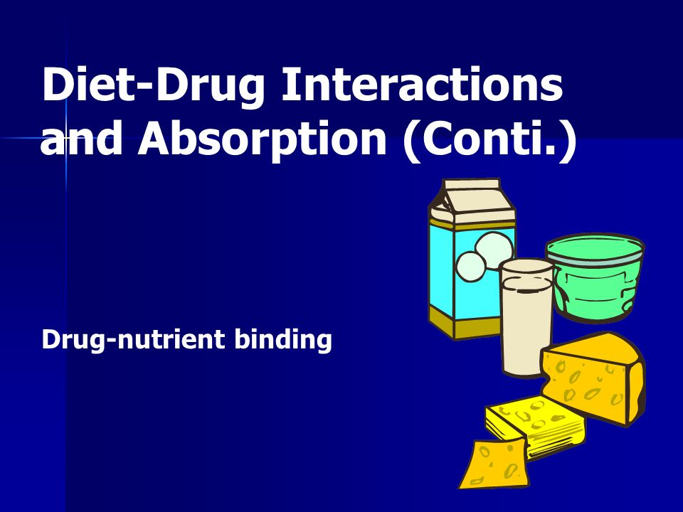 Drug-nutrient binding Diet-Drug Interactions and Absorption (Conti.)