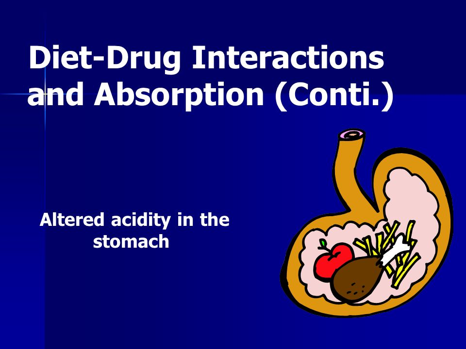 Diet-Drug Interactions and Absorption (Conti.) Altered acidity in the stomach