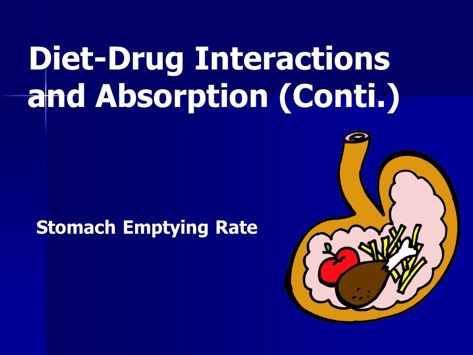 Stomach Emptying Rate Diet-Drug Interactions and Absorption (Conti.)
