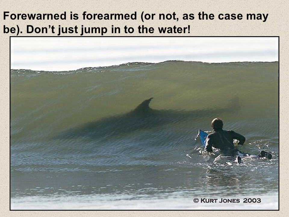 Forewarned is forearmed (or not, as the case may be). Dont just jump in to the water!