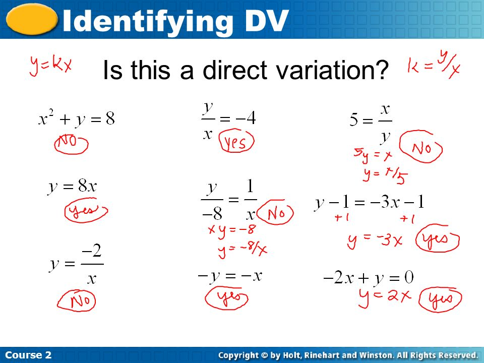 Is this a direct variation? Course 2 Identifying DV