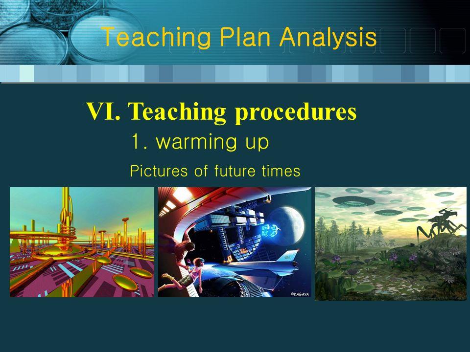 Teaching Plan Analysis VI. Teaching procedures 1. warming up Pictures of future times