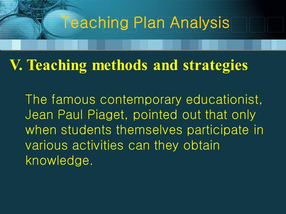 Teaching Plan Analysis V.