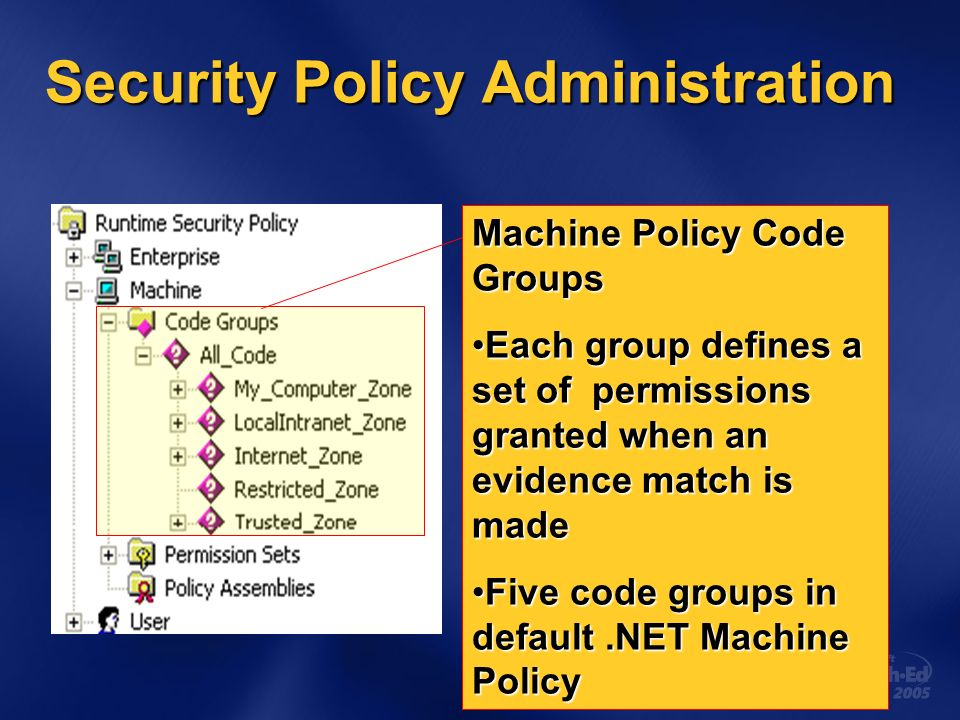 Security Policy Administration Machine Policy Code Groups Each group defines a set of permissions granted when an evidence match is madeEach group defines a set of permissions granted when an evidence match is made Five code groups in default.NET Machine PolicyFive code groups in default.NET Machine Policy