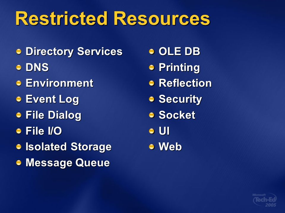 Restricted Resources Directory Services DNSEnvironment Event Log File Dialog File I/O Isolated Storage Message Queue OLE DB PrintingReflectionSecurity