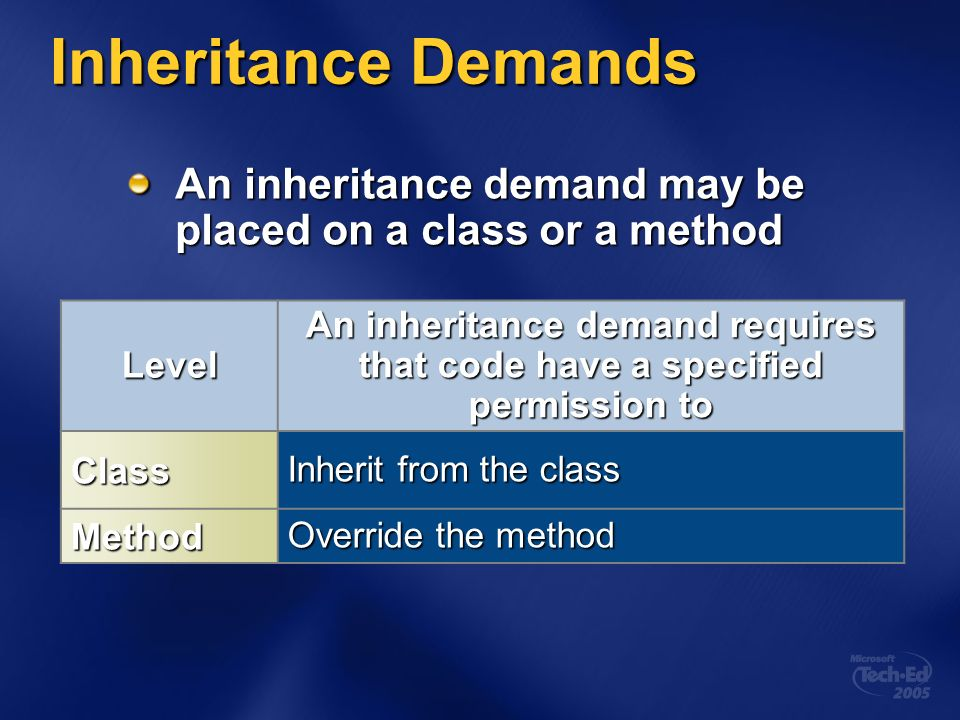 Inheritance Demands An inheritance demand may be placed on a class or a method Level An inheritance demand requires that code have a specified permission to Class Inherit from the class Method Override the method