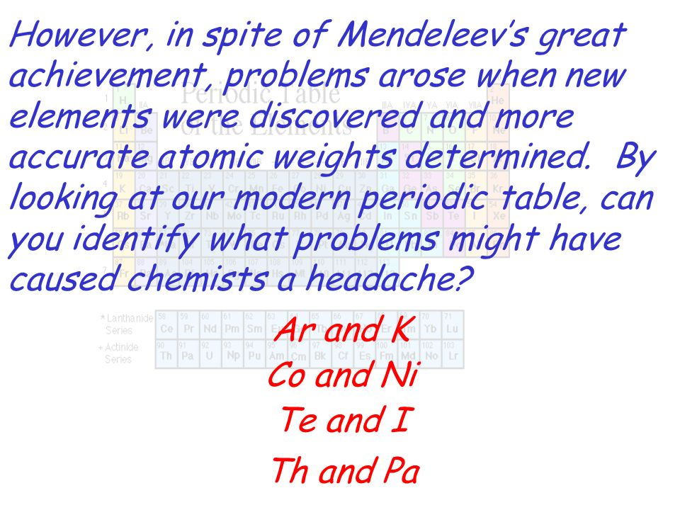 However, in spite of Mendeleevs great achievement, problems arose when new elements were discovered and more accurate atomic weights determined. By lo