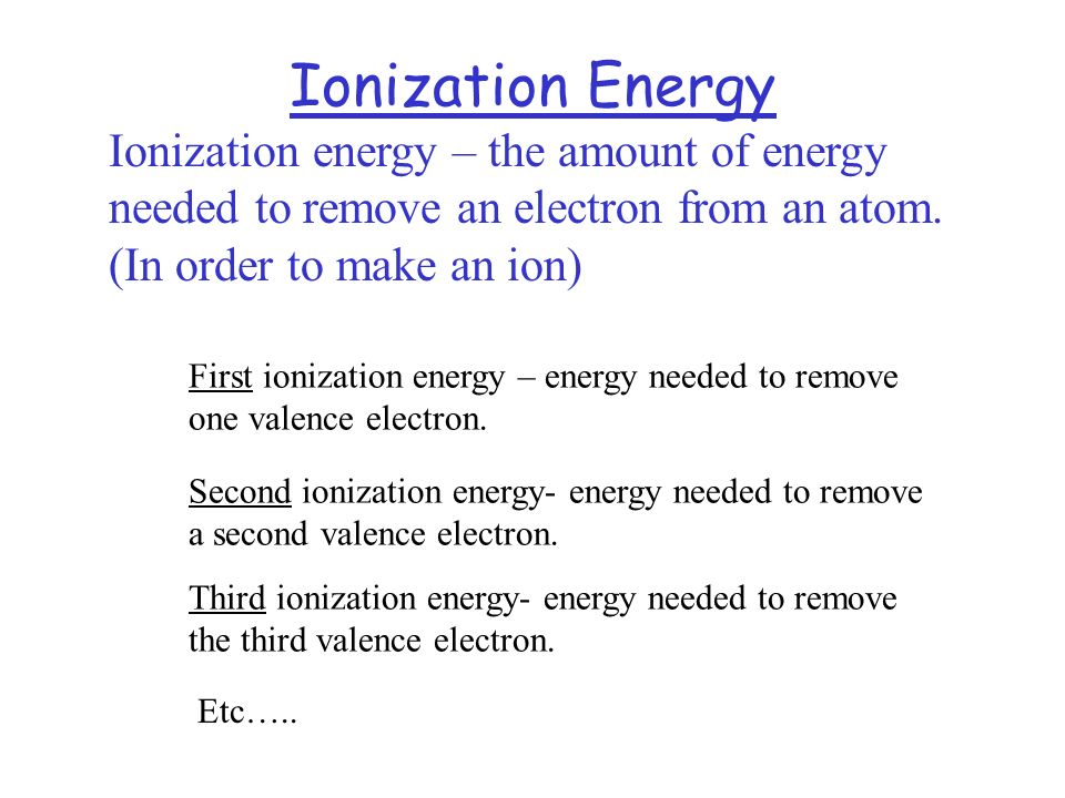 Ionization Energy Ionization energy – the amount of energy needed to remove an electron from an atom. (In order to make an ion) First ionization energ