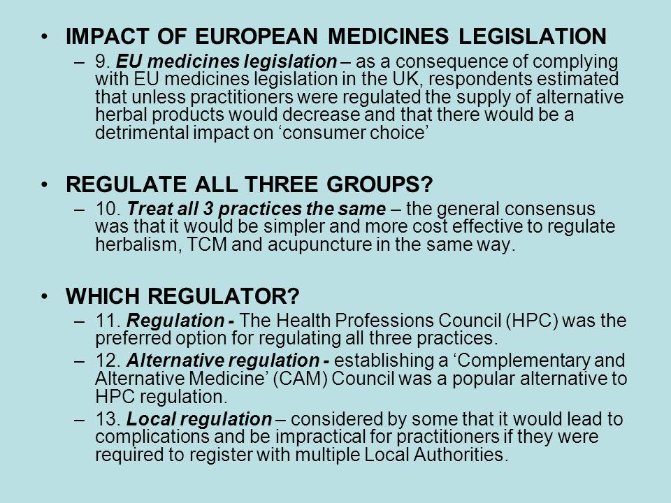 IMPACT OF EUROPEAN MEDICINES LEGISLATION –9.