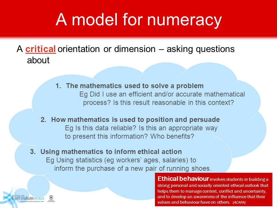 A model for numeracy A critical orientation or dimension – asking questions about 3.Using mathematics to inform ethical action Eg Using statistics (eg