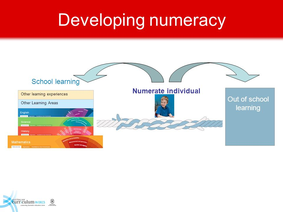 Developing numeracy Other Learning Areas Other learning experiences School learning Out of school learning Numerate individual