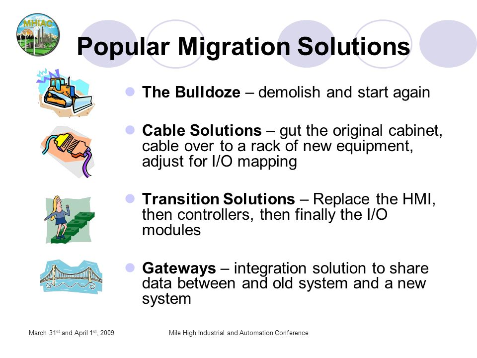March 31 st and April 1 st, 2009Mile High Industrial and Automation Conference Popular Migration Solutions The Bulldoze – demolish and start again Cable Solutions – gut the original cabinet, cable over to a rack of new equipment, adjust for I/O mapping Transition Solutions – Replace the HMI, then controllers, then finally the I/O modules Gateways – integration solution to share data between and old system and a new system