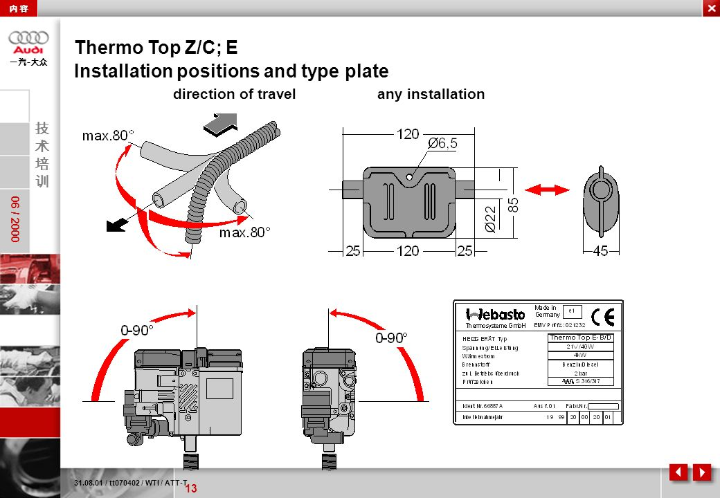13 06 / 2000 - direction of travelany installation Thermo Top Z/C; E 31.08.01 / tt070402 / WTI / ATT-T Installation positions and type plate