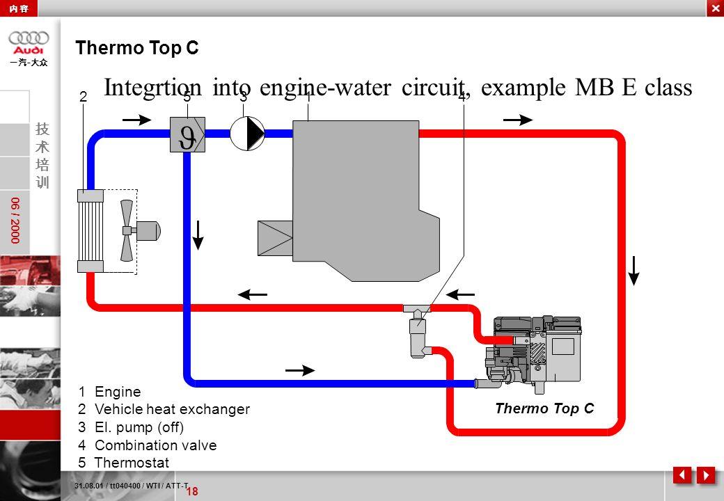 18 06 / 2000 - 31.08.01 / tt040400 / WTI / ATT-T Thermo Top C 1 Engine 2 Vehicle heat exchanger 3 El. pump (off) 4 Combination valve 5 Thermostat Inte
