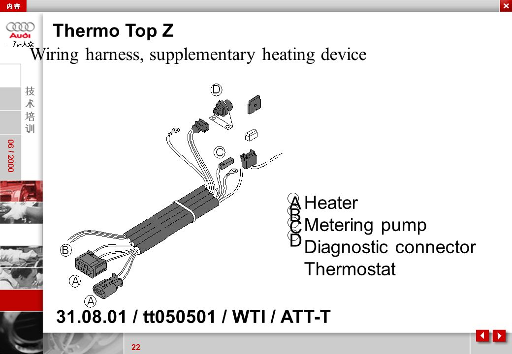 22 06 / 2000 - 31.08.01 / tt050501 / WTI / ATT-T Thermo Top Z Heater Metering pump Diagnostic connector Thermostat A B D C Wiring harness, supplementa