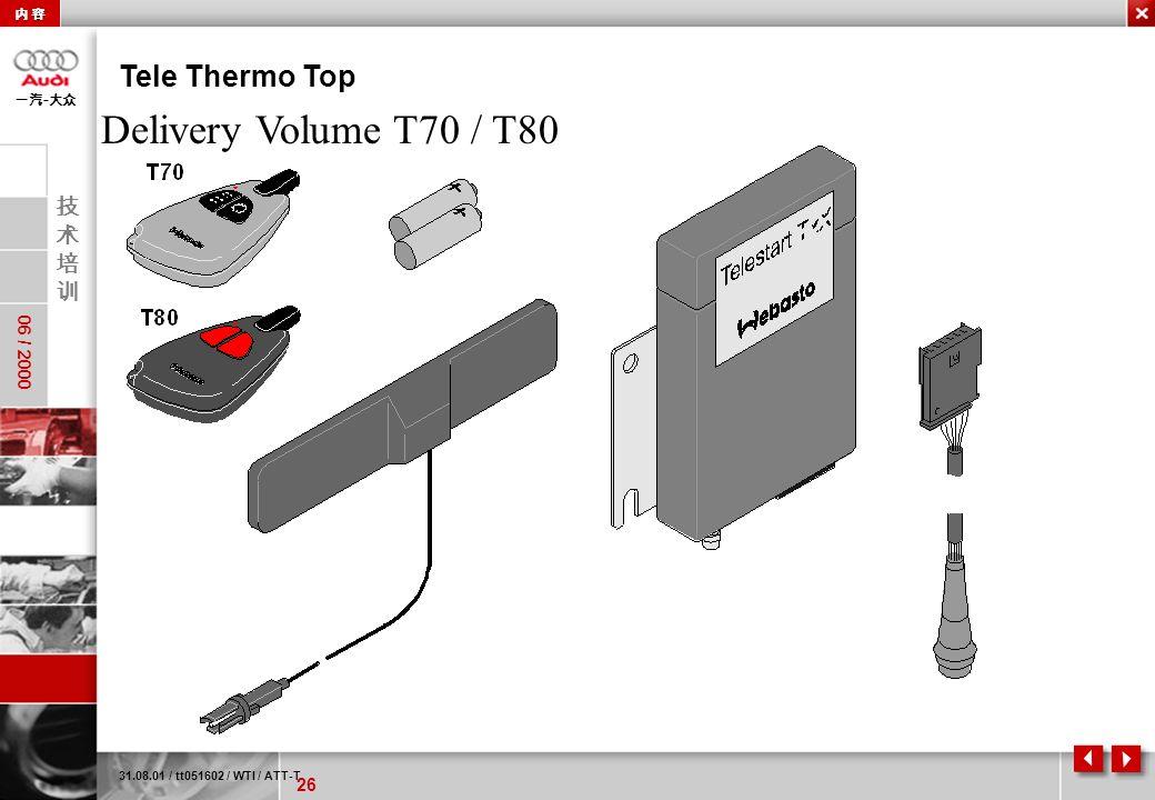 26 06 / 2000 - Tele Thermo Top 31.08.01 / tt051602 / WTI / ATT-T Delivery Volume T70 / T80