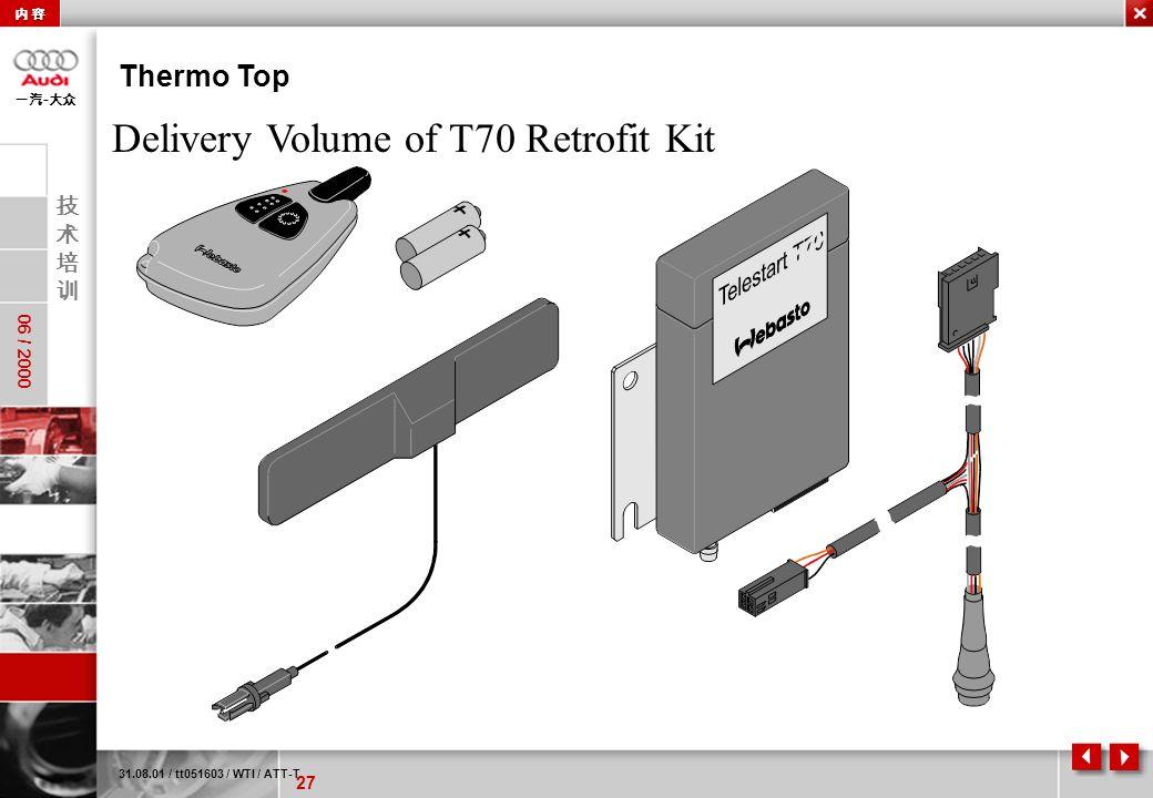 27 06 / 2000 - Thermo Top 31.08.01 / tt051603 / WTI / ATT-T Delivery Volume of T70 Retrofit Kit