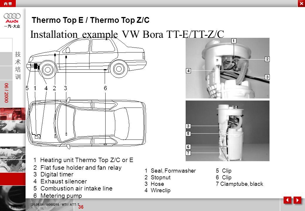 36 06 / 2000 - 31.08.01 / tt060215 / WTI / ATT-T Thermo Top E / Thermo Top Z/C Installation example VW Bora TT-E/TT-Z/C 1 Seal, Formwasher 2 Stopnut 3