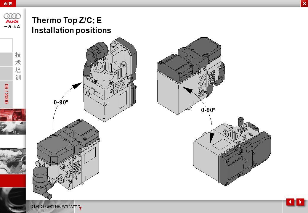 7 06 / 2000 - Thermo Top Z/C; E 31.08.01 / tt071100 / WTI / ATT-T Installation positions