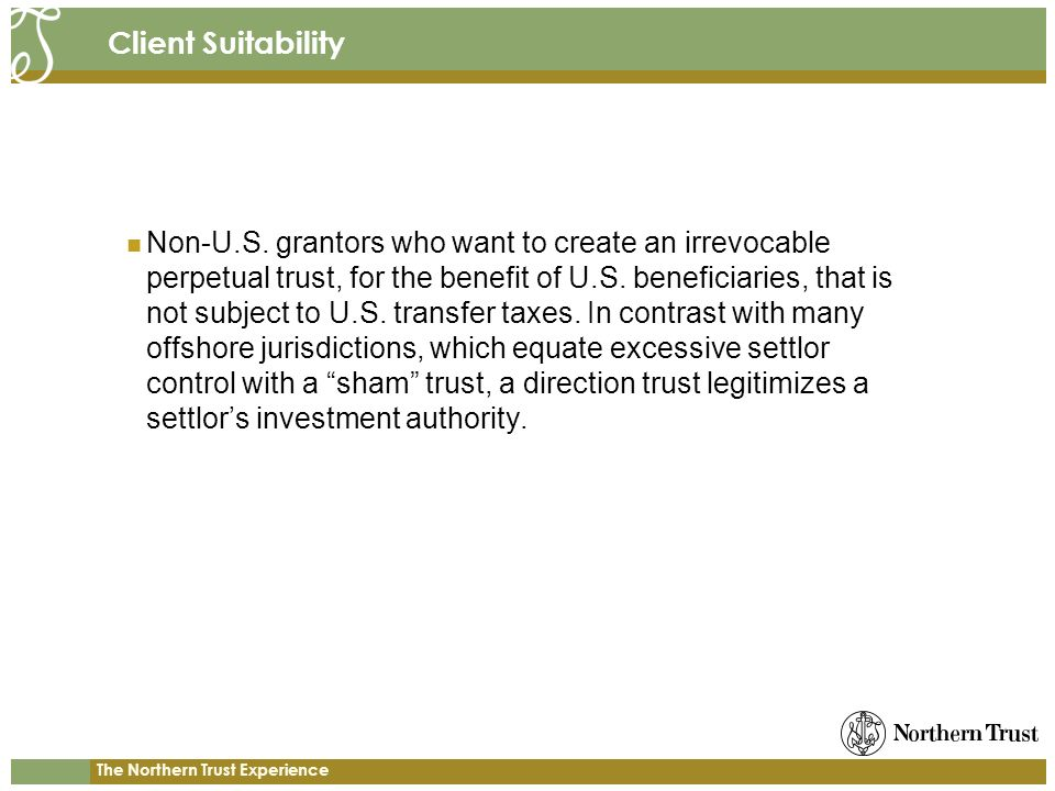 The Northern Trust Experience Client Suitability Non-U.S.