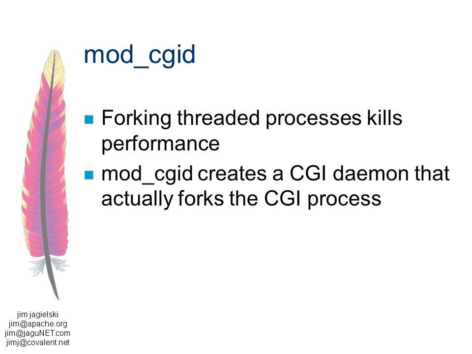 jim jagielski jim@apache.org jim@jaguNET.com jimj@covalent.net mod_cgid Forking threaded processes kills performance mod_cgid creates a CGI daemon that actually forks the CGI process