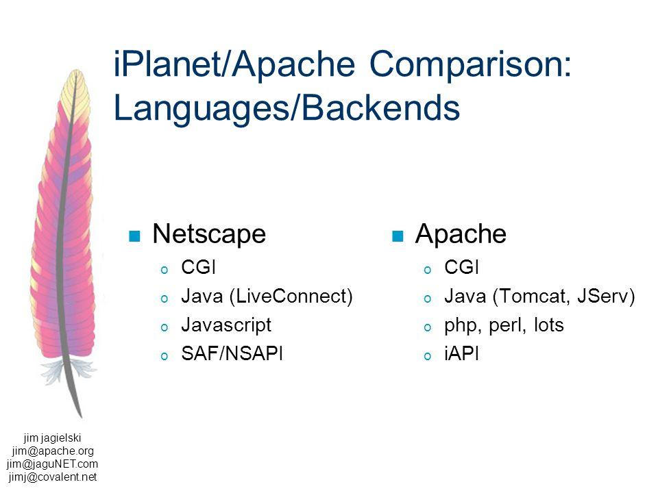 jim jagielski jim@apache.org jim@jaguNET.com jimj@covalent.net iPlanet/Apache Comparison: Languages/Backends Netscape o CGI o Java (LiveConnect) o Javascript o SAF/NSAPI Apache o CGI o Java (Tomcat, JServ) o php, perl, lots o iAPI