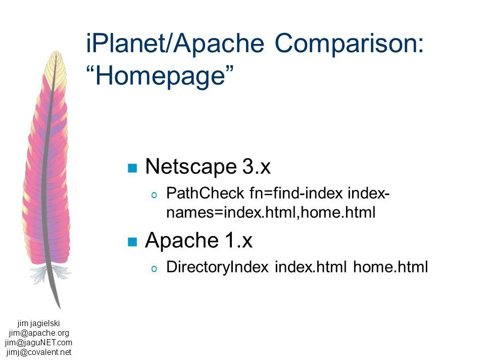 jim jagielski jim@apache.org jim@jaguNET.com jimj@covalent.net iPlanet/Apache Comparison: Homepage Netscape 3.x o PathCheck fn=find-index index- names=index.html,home.html Apache 1.x o DirectoryIndex index.html home.html