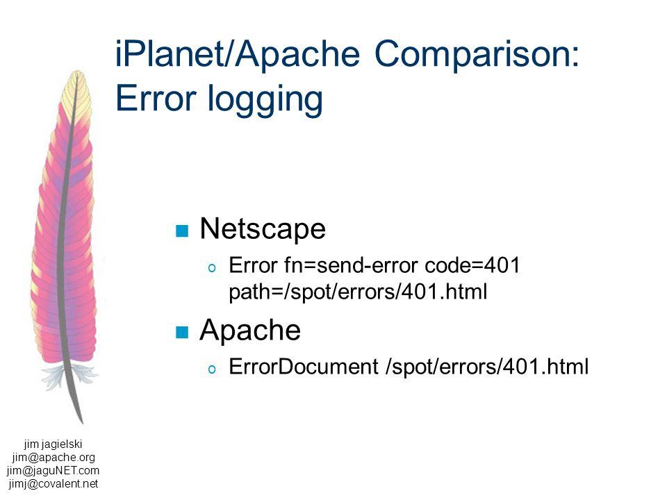 jim jagielski jim@apache.org jim@jaguNET.com jimj@covalent.net iPlanet/Apache Comparison: Error logging Netscape o Error fn=send-error code=401 path=/spot/errors/401.html Apache o ErrorDocument /spot/errors/401.html