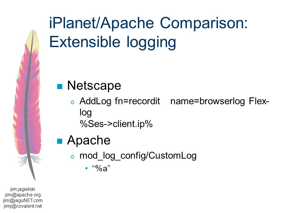 jim jagielski jim@apache.org jim@jaguNET.com jimj@covalent.net iPlanet/Apache Comparison: Extensible logging Netscape o AddLog fn=recorditname=browserlog Flex- log %Ses->client.ip% Apache o mod_log_config/CustomLog %a