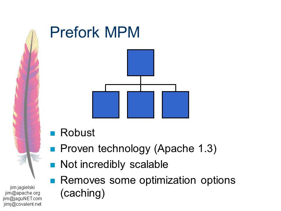 jim jagielski jim@apache.org jim@jaguNET.com jimj@covalent.net Prefork MPM Robust Proven technology (Apache 1.3) Not incredibly scalable Removes some optimization options (caching)