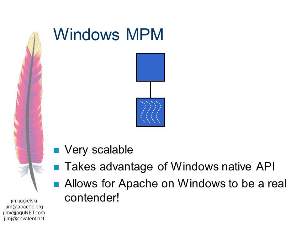 jim jagielski jim@apache.org jim@jaguNET.com jimj@covalent.net Windows MPM Very scalable Takes advantage of Windows native API Allows for Apache on Windows to be a real contender!