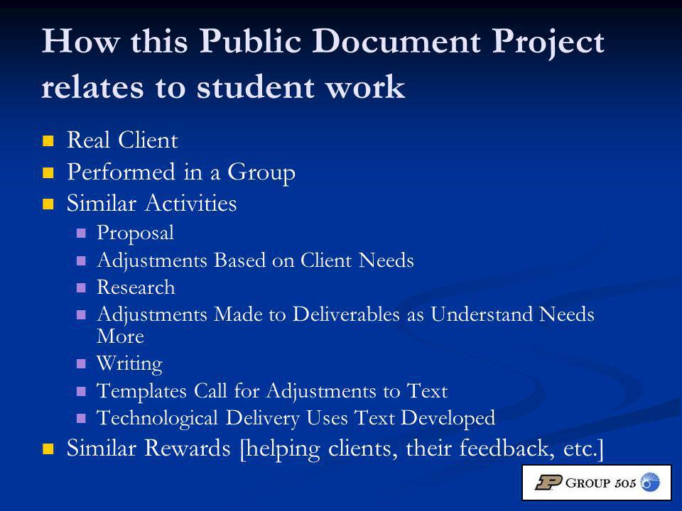 How this Public Document Project relates to student work Real Client Performed in a Group Similar Activities Proposal Adjustments Based on Client Needs Research Adjustments Made to Deliverables as Understand Needs More Writing Templates Call for Adjustments to Text Technological Delivery Uses Text Developed Similar Rewards [helping clients, their feedback, etc.]