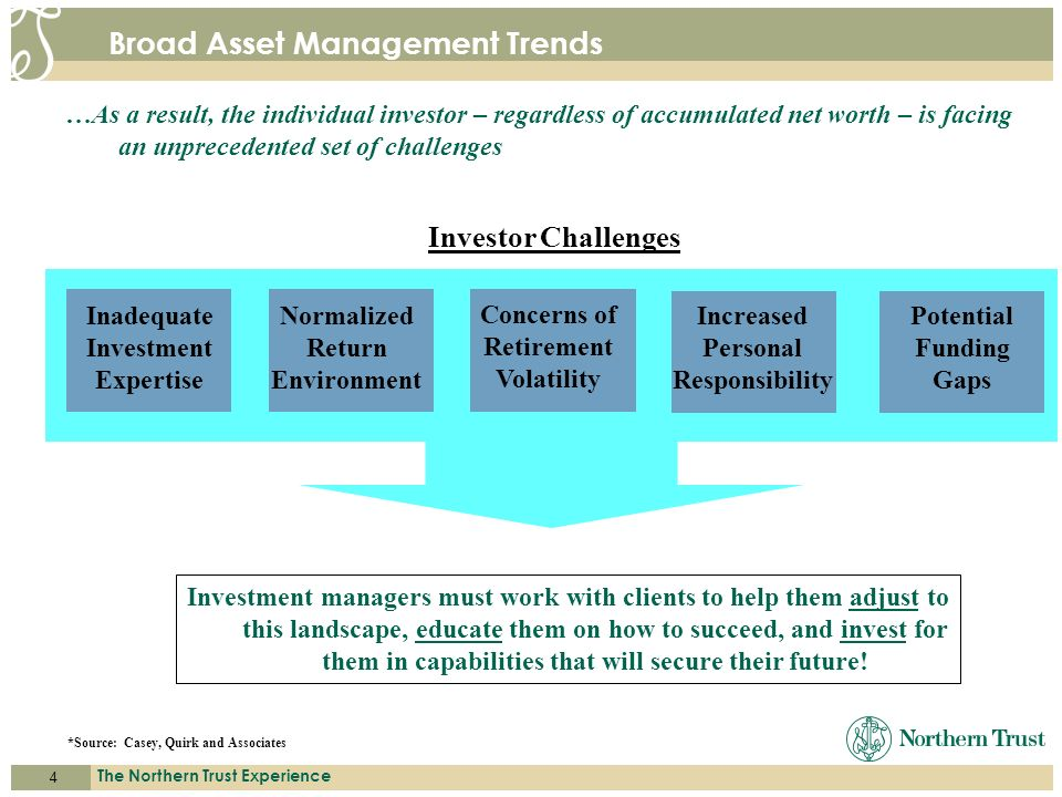 4 The Northern Trust Experience A C C E S S. E X P E R T I S E. S E R V I C E. Broad Asset Management Trends Investor Challenges *Source: Casey, Quirk