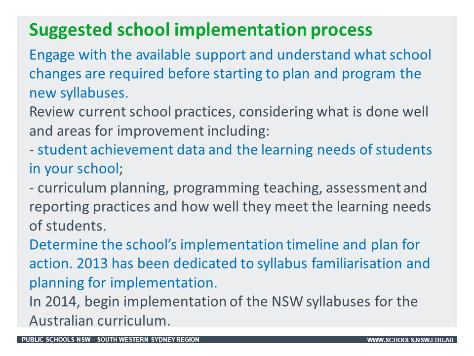 PUBLIC SCHOOLS NSW – SOUTH WESTERN SYDNEY REGIONWWW.SCHOOLS.NSW.EDU.AU Engage with the available support and understand what school changes are required before starting to plan and program the new syllabuses.