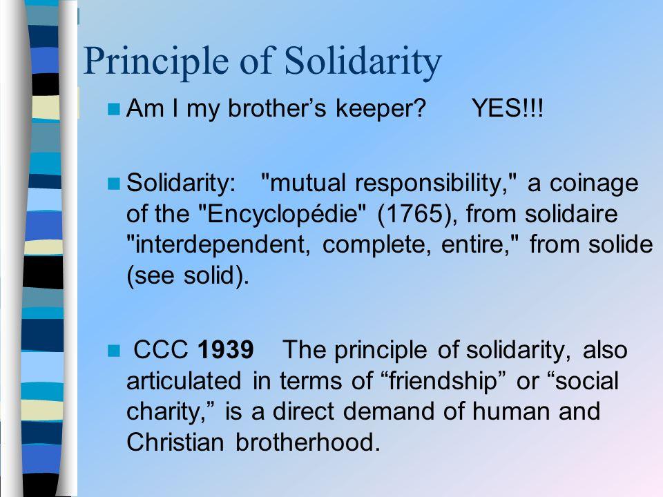 Principle of Solidarity Am I my brothers keeper? YES!!! Solidarity:
