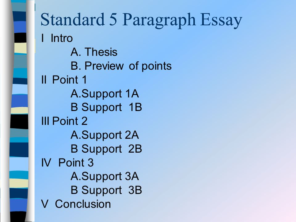 Standard 5 Paragraph Essay I Intro A. Thesis B. Preview of points IIPoint 1 A.Support 1A B Support 1B IIIPoint 2 A.Support 2A B Support 2B IV Point 3