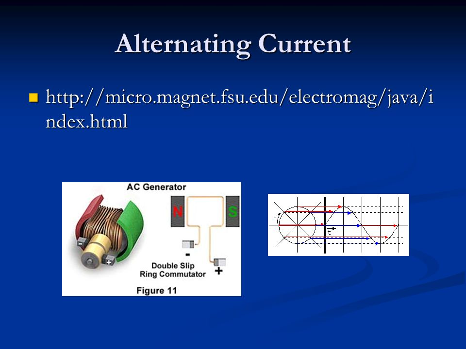Alternating Current http://micro.magnet.fsu.edu/electromag/java/i ndex.html http://micro.magnet.fsu.edu/electromag/java/i ndex.html