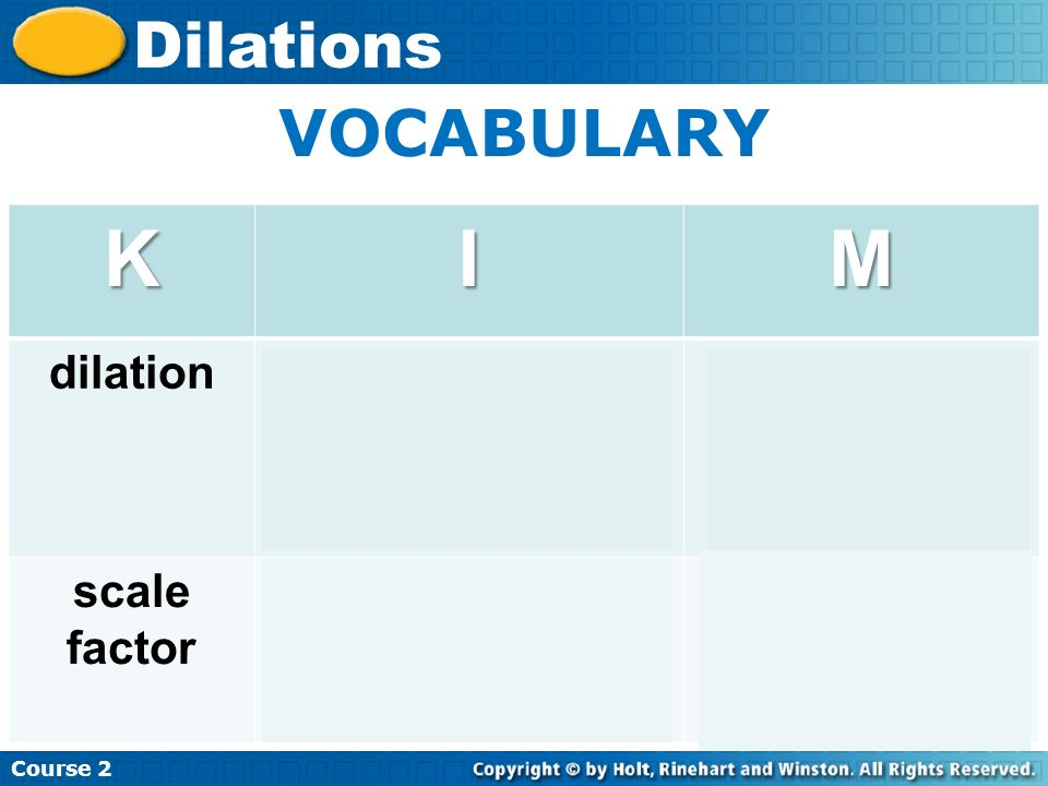 Insert Lesson Title Here Course 2 Dilations VOCABULARYKIM dilation - transformation - causes figure to increase or decrease proportionately Eye doctor