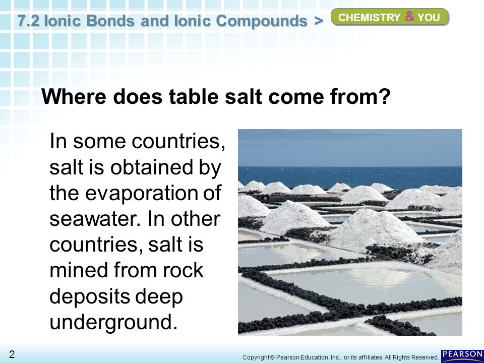 7.2 Ionic Bonds and Ionic Compounds > 2 Copyright © Pearson Education, Inc., or its affiliates. All Rights Reserved. CHEMISTRY & YOU Where does table