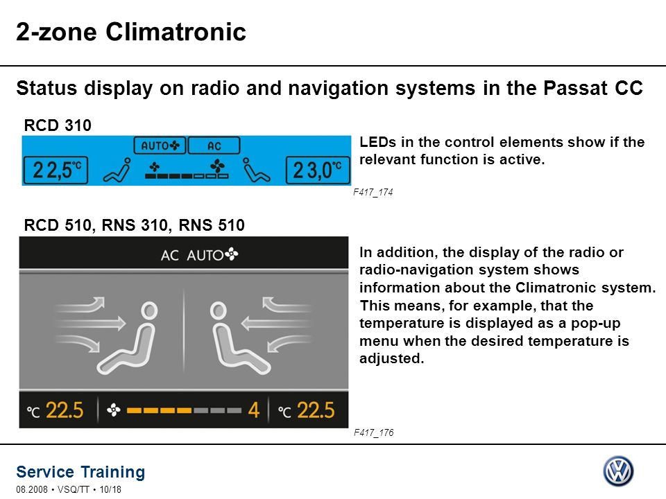 Service Training 08.2008 VSQ/TT 10/18 2-zone Climatronic Status display on radio and navigation systems in the Passat CC F417_176 F417_174 In addition