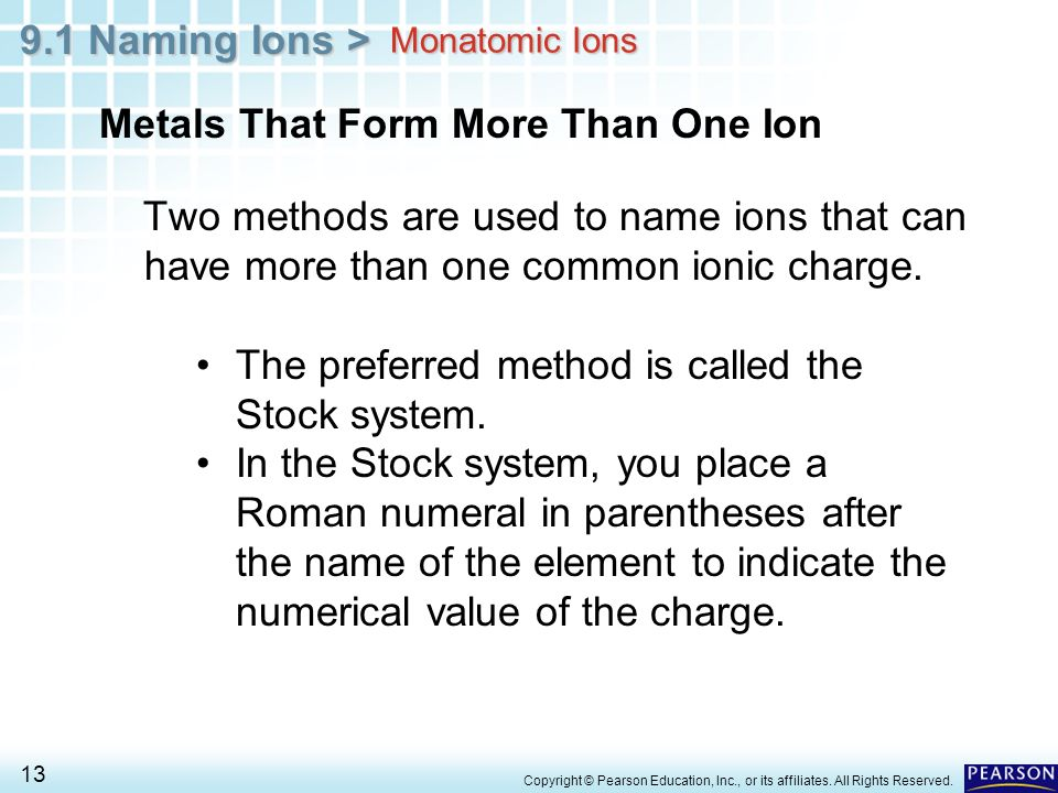 9.1 Naming Ions > 13 Copyright © Pearson Education, Inc., or its affiliates. All Rights Reserved. Metals That Form More Than One Ion Two methods are u
