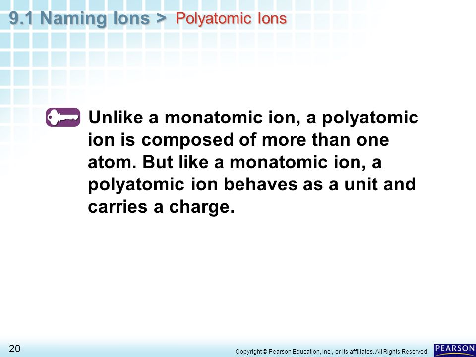 9.1 Naming Ions > 20 Copyright © Pearson Education, Inc., or its affiliates. All Rights Reserved. Unlike a monatomic ion, a polyatomic ion is composed