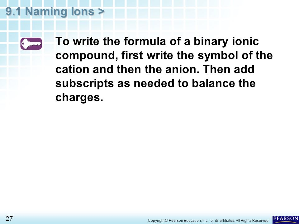9.1 Naming Ions > 27 To write the formula of a binary ionic compound, first write the symbol of the cation and then the anion. Then add subscripts as