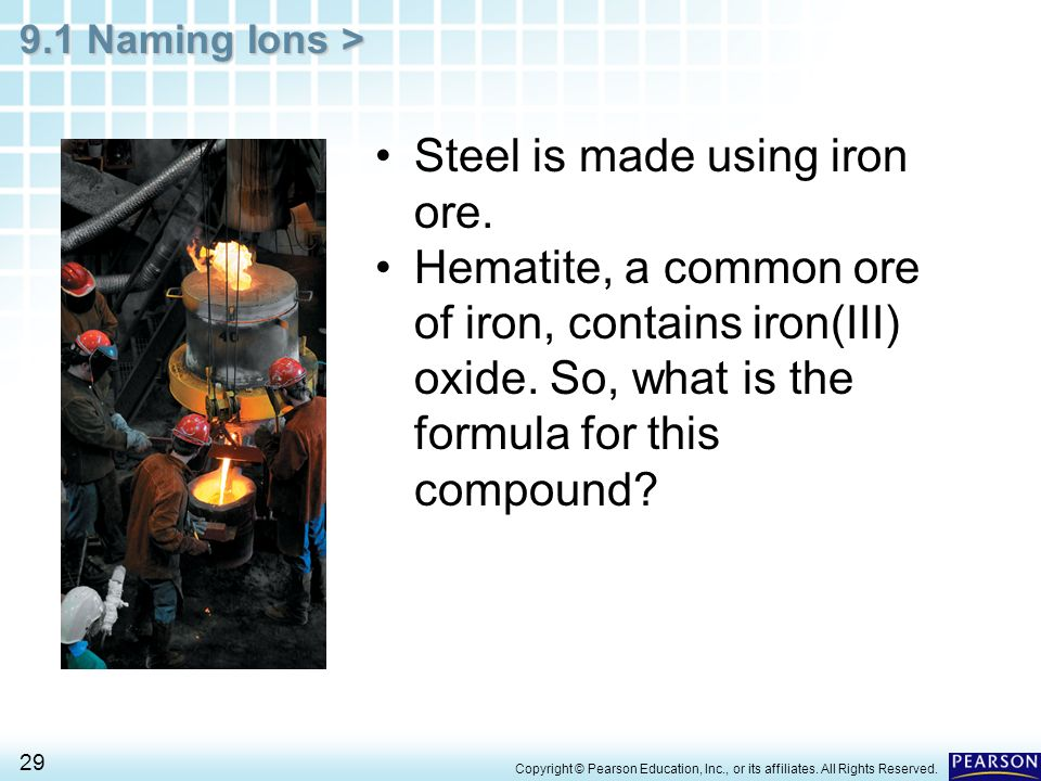 9.1 Naming Ions > 29 Steel is made using iron ore. Hematite, a common ore of iron, contains iron(III) oxide. So, what is the formula for this compound