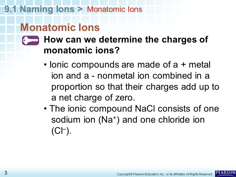 9.1 Naming Ions > 3 Copyright © Pearson Education, Inc., or its affiliates. All Rights Reserved. Monatomic Ions How can we determine the charges of mo
