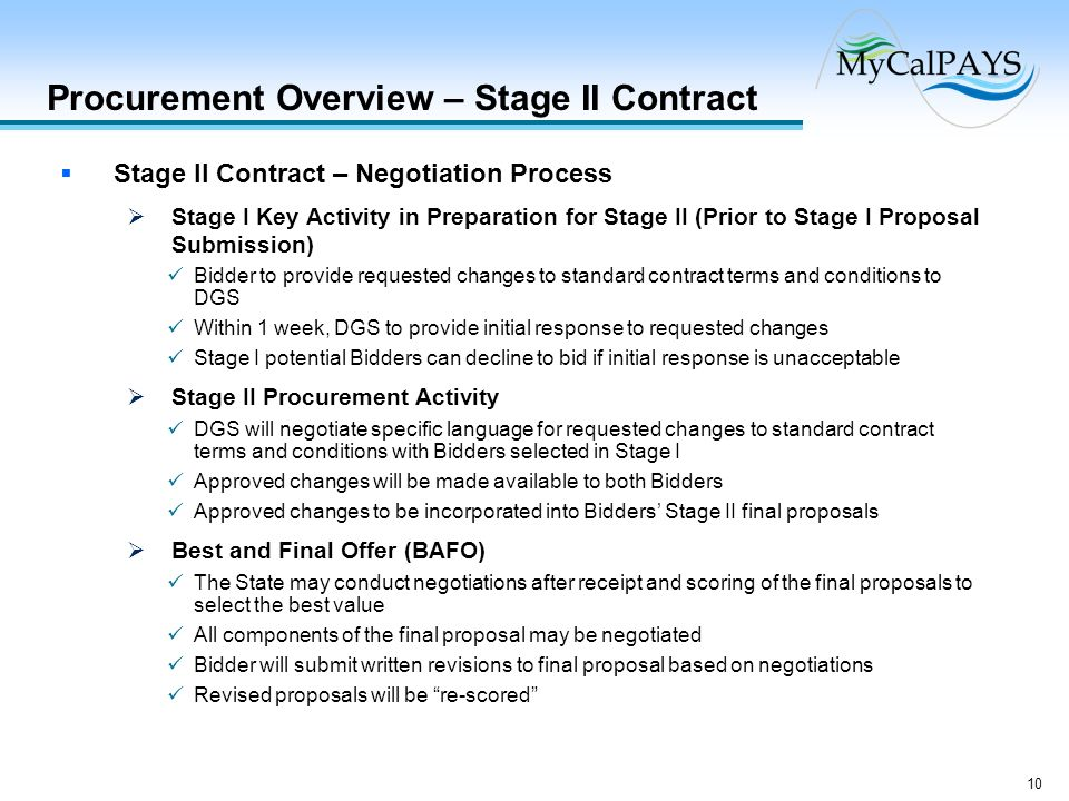 10 Procurement Overview – Stage II Contract Stage II Contract – Negotiation Process Stage I Key Activity in Preparation for Stage II (Prior to Stage I